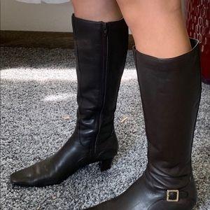 """Karen Scott brown boots, with 2 in heel 14"""" shaft."""